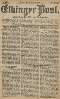 Elbinger Post, Nr. 295 Dienstag 17 Dezember 1878, 5 Jahrg.