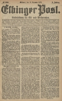 Elbinger Post, Nr. 296 Mittwoch 18 Dezember 1878, 5 Jahrg.