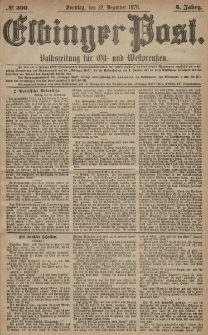 Elbinger Post, Nr. 300 Sonntag 22 Dezember 1878, 5 Jahrg.