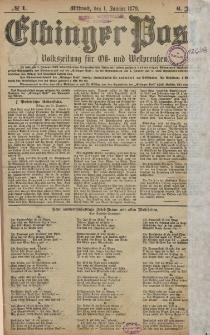 Elbinger Post, Nr. 1 Mittwoch 1 Januar 1879, 6 Jahrg.