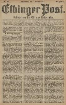 Elbinger Post, Nr. 27 Sonnabend 1 Februar 1879, 6 Jahrg.