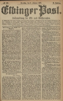 Elbinger Post, Nr. 34 Sonntag 9 Februar 1879, 6 Jahrg.