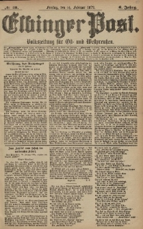 Elbinger Post, Nr. 38 Freitag 14 Februar 1879, 6 Jahrg.