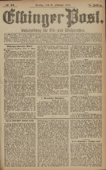 Elbinger Post, Nr. 44 Freitag 21 Februar 1879, 6 Jahrg.