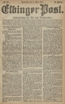Elbinger Post, Nr. 55 Donnerstag 6 März 1879, 6 Jahrg.