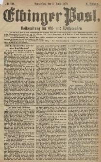 Elbinger Post, Nr. 79 Donnerstag 3 April 1879, 6 Jahrg.