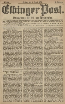 Elbinger Post, Nr. 80 Freitag 4 April 1879, 6 Jahrg.
