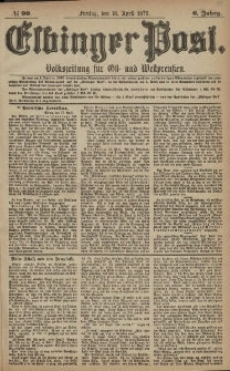 Elbinger Post, Nr. 90 Freitag 18 April 1879, 6 Jahrg.