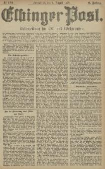 Elbinger Post, Nr. 178 Sonnabend 2 August 1879, 6 Jahrg.