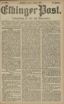 Elbinger Post, Nr. 184 Sonnabend 9 August 1879, 6 Jahrg.