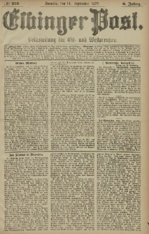 Elbinger Post, Nr. 215 Sonntag 14 September 1879, 6 Jahrg.