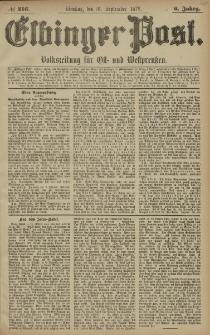 Elbinger Post, Nr. 216 Dienstag 16 September 1879, 6 Jahrg.