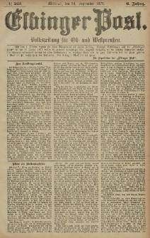 Elbinger Post, Nr. 223 Mittwoch 24 September 1879, 6 Jahrg.