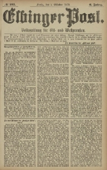 Elbinger Post, Nr. 231 Freitag 3 Oktober 1879, 6 Jahrg.