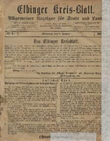 Kreis-Blatt des Königlich Preußischen Landraths-Amtes zu Elbing, Nr. 1 Mittwoch 1 Januar 1873
