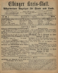 Kreis-Blatt des Königlich Preußischen Landraths-Amtes zu Elbing, Nr. 10 Sonnabend 1 Februar 1873