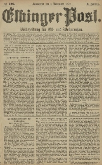 Elbinger Post, Nr. 256 Sonnabend 1 November 1879, 6 Jahrg.