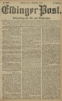 Elbinger Post, Nr. 263 Sonntag 9 November 1879, 6 Jahrg.