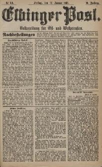 Elbinger Post, Nr. 11, Freitag 14 Januar 1881, 8 Jahrg.