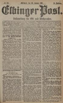 Elbinger Post, Nr. 21, Mittwoch 26 Januar 1881, 8 Jahrg.