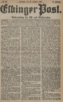 Elbinger Post, Nr. 43, Sonntag 20 Februar 1881, 8 Jahrg.