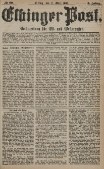 Elbinger Post, Nr. 59, Freitag 11 März 1881, 8 Jahrg.