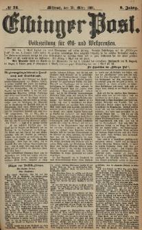 Elbinger Post, Nr. 75, Mittwoch 30 März 1881, 8 Jahrg.