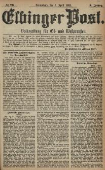 Elbinger Post, Nr. 78, Sonnabend 2 April 1881, 8 Jahrg.