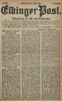 Elbinger Post, Nr. 79, Sonntag 3 April 1881, 8 Jahrg.