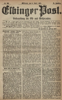 Elbinger Post, Nr. 81, Mittwoch 6 April 1881, 8 Jahrg.