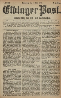 Elbinger Post, Nr. 82, Donnerstag 7 April 1881, 8 Jahrg.