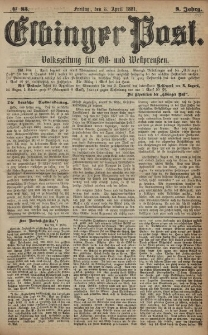 Elbinger Post, Nr. 83, Freitag 8 April 1881, 8 Jahrg.