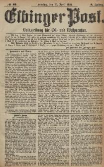 Elbinger Post, Nr. 85, Sonntag 10 April 1881, 8 Jahrg.