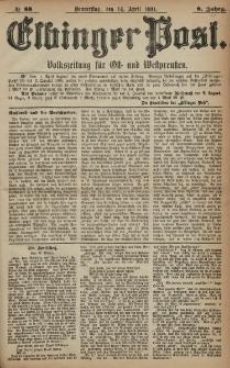 Elbinger Post, Nr. 88, Donnerstag 14 April 1881, 8 Jahrg.