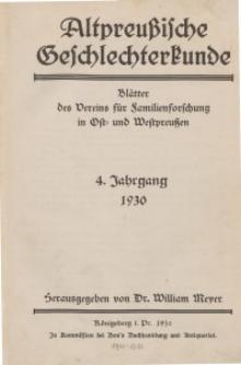 Altpreußische Geschlechterkunde, 1930, Jahrgang 4