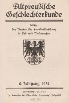 Altpreußische Geschlechterkunde, 1934, Jahrgang 8