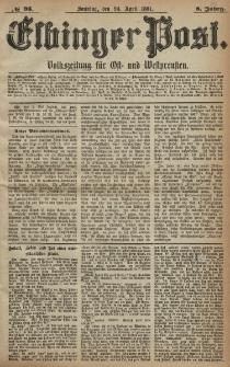 Elbinger Post, Nr. 95, Sonntag 24 April 1881, 8 Jahrg.
