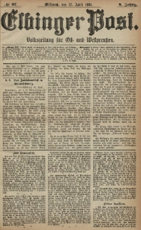 Elbinger Post, Nr. 97, Mittwoch 27 April 1881, 8 Jahrg.