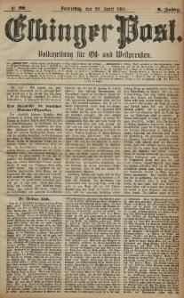 Elbinger Post, Nr. 98, Donnerstag 28 April 1881, 8 Jahrg.