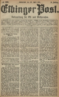 Elbinger Post, Nr. 100, Sonnabend 30 April 1881, 8 Jahrg.