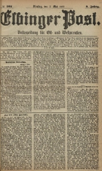 Elbinger Post, Nr. 102, Dienstag 2 Mai 1881, 8 Jahrg.