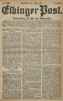 Elbinger Post, Nr. 106, Sonnabend 7 Mai 1881, 8 Jahrg.