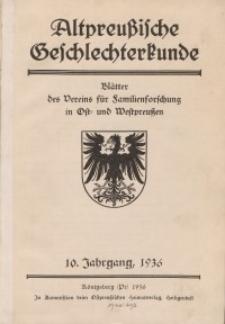 Altpreußische Geschlechterkunde, 1936, Jahrgang 10