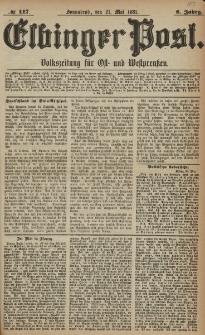 Elbinger Post, Nr. 117, Sonnabend 21 Mai 1881, 8 Jahrg.