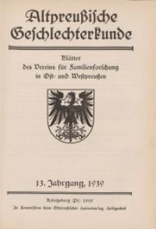 Altpreußische Geschlechterkunde, 1939, Jahrgang 13