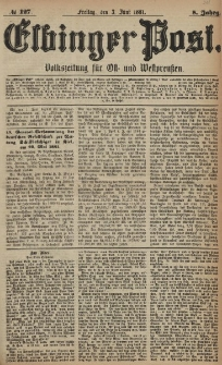 Elbinger Post, Nr. 127, Freitag 3 Juni 1881, 8 Jahrg.