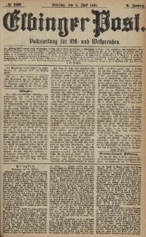 Elbinger Post, Nr. 129, Sonntag 5 Juni 1881, 8 Jahrg.