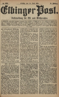 Elbinger Post, Nr. 130, Mittwoch 8 Juni 1881, 8 Jahrg.