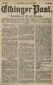 Elbinger Post, Nr. 137, Donnerstag 16 Juni 1881, 8 Jahrg.