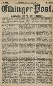 Elbinger Post, Nr. 139, Sonnabend 18 Juni 1881, 8 Jahrg.
